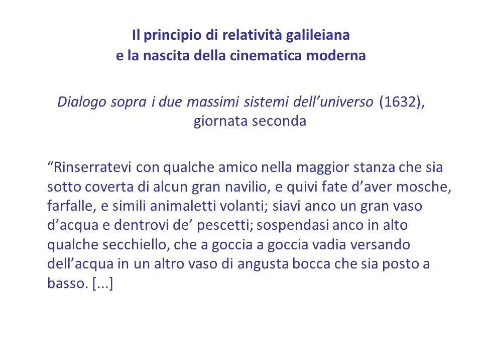 Il principio di relatività galileiana e la nascita della cinematica moderna Dialogo sopra i due massimi sistemi delluniverso (1632), giornata seconda