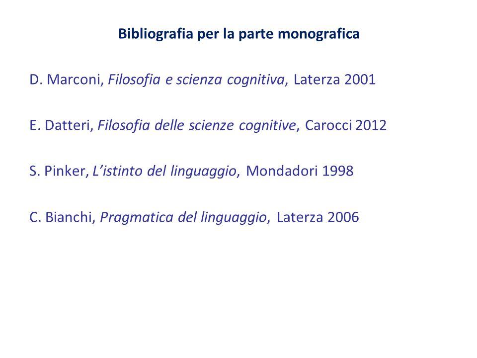 Bibliografia per la parte monografica D. Marconi, Filosofia e scienza cognitiva, Laterza 2001 E. Datteri, Filosofia delle scienze cognitive, Carocci 2