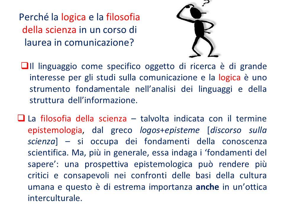 Perché la logica e la filosofia della scienza in un corso di laurea in comunicazione? Il linguaggio come specifico oggetto di ricerca è di grande inte