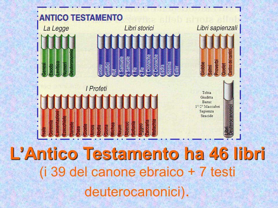 LAntico Testamento ha 46 libri LAntico Testamento ha 46 libri (i 39 del canone ebraico + 7 testi deuterocanonici). Tobia Giuditta Baruc 1°/2° Maccabei