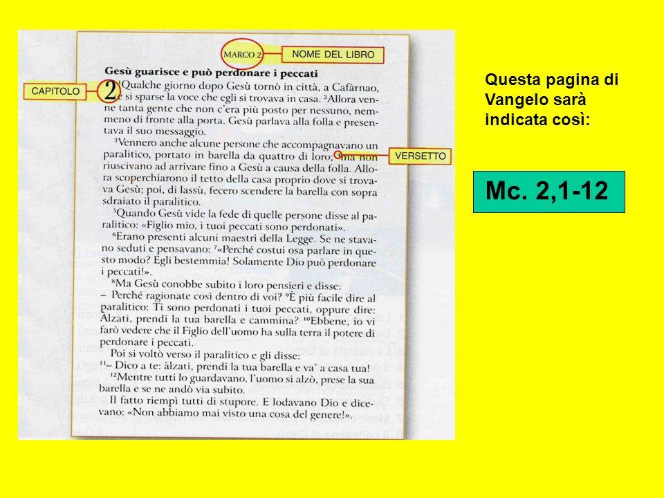 Questa pagina di Vangelo sarà indicata così: Mc. 2,1-12