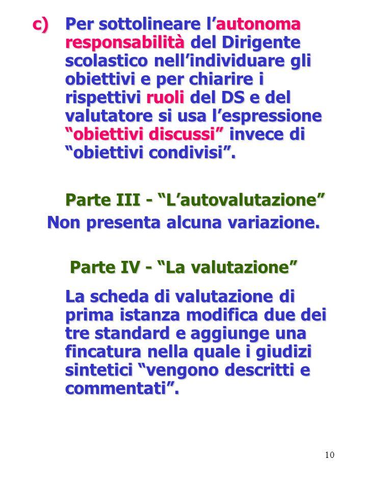 10 c)Per sottolineare lautonoma responsabilità del Dirigente scolastico nellindividuare gli obiettivi e per chiarire i rispettivi ruoli del DS e del v