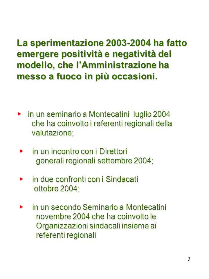3 La sperimentazione 2003-2004 ha fatto emergere positività e negatività del modello, che lAmministrazione ha messo a fuoco in più occasioni.