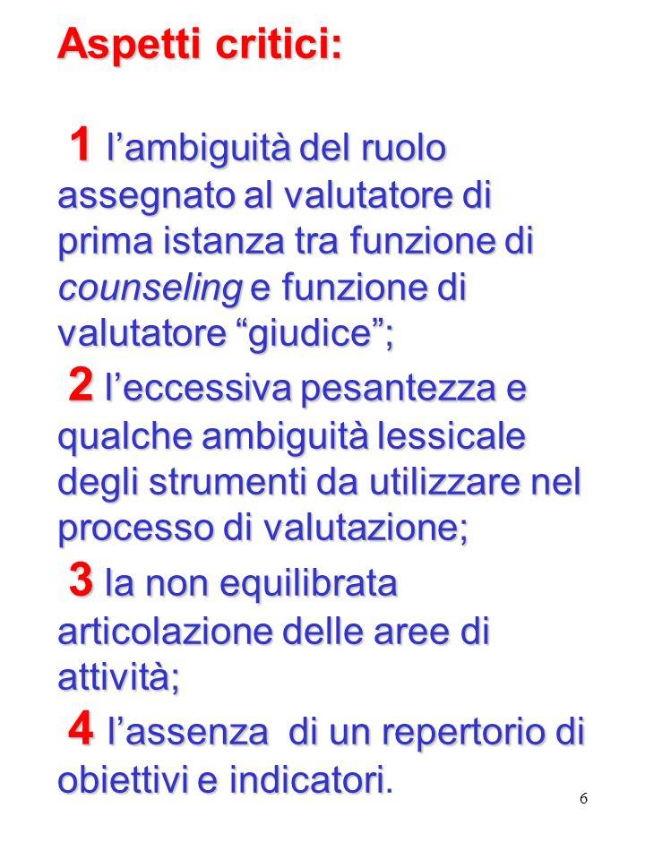 6 Aspetti critici: 1 lambiguità del ruolo assegnato al valutatore di prima istanza tra funzione di counseling e funzione di valutatore giudice; 2 lecc