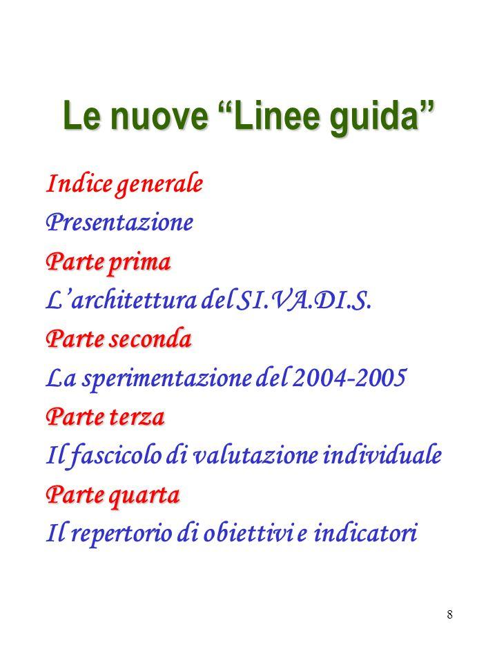 8 Le nuove Linee guida Indice generale Presentazione Parte prima Larchitettura del SI.VA.DI.S. Parte seconda La sperimentazione del 2004-2005 Parte te