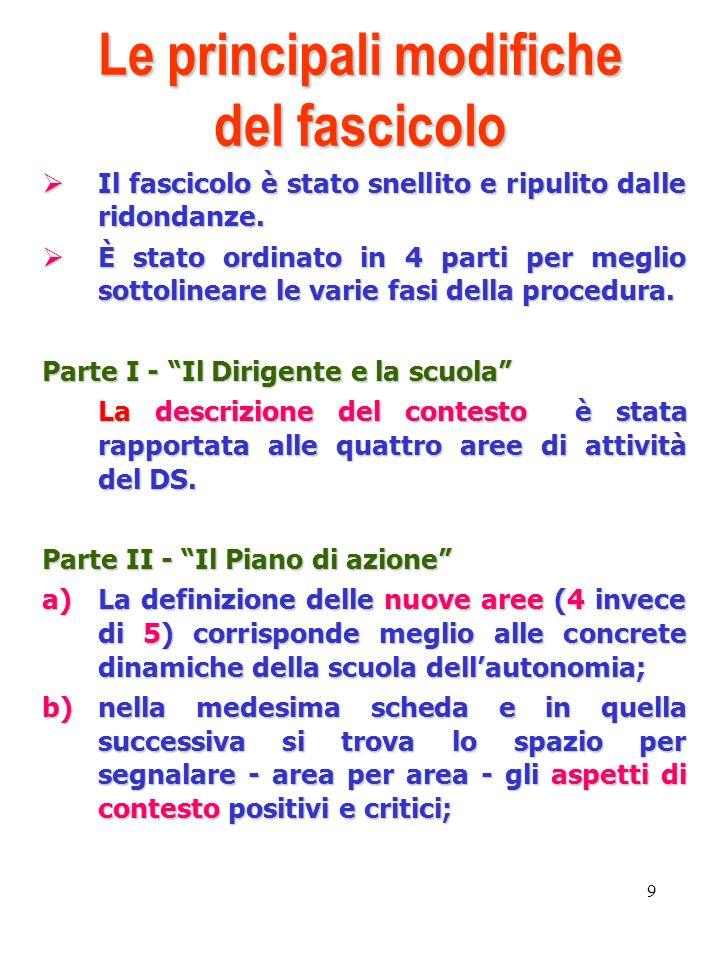 9 Le principali modifiche del fascicolo Il fascicolo è stato snellito e ripulito dalle ridondanze.