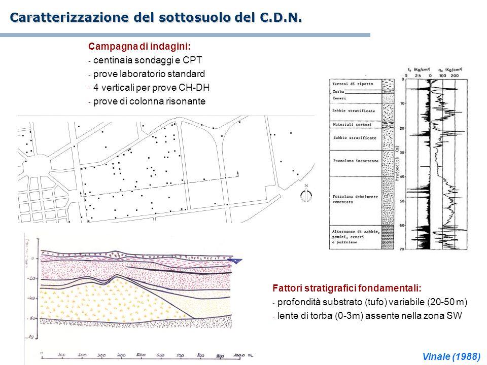Caratterizzazione del sottosuolo del C.D.N. Campagna di indagini: - centinaia sondaggi e CPT - prove laboratorio standard - 4 verticali per prove CH-D