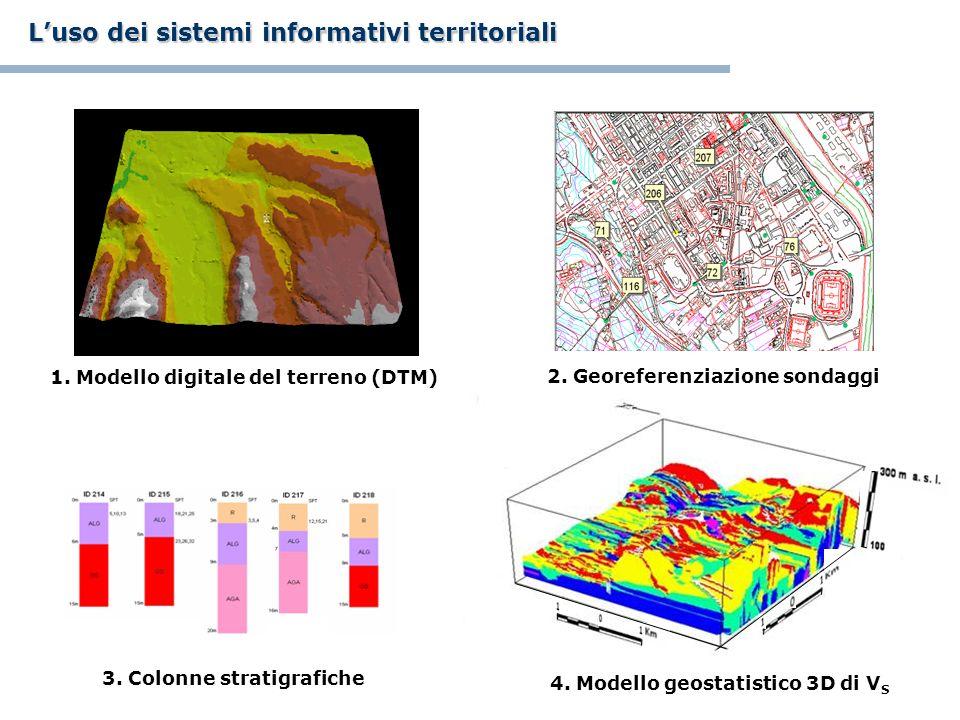 4. Modello geostatistico 3D di V S Luso dei sistemi informativi territoriali 1. Modello digitale del terreno (DTM) 2. Georeferenziazione sondaggi 3. C