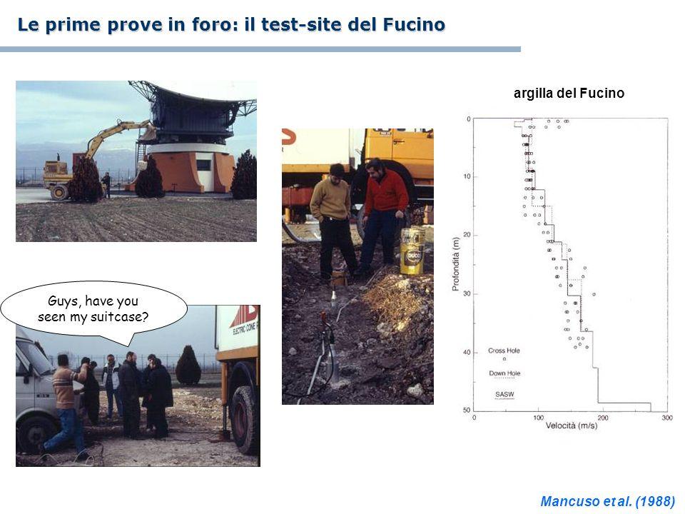 Guys, have you seen my suitcase? Le prime prove in foro: il test-site del Fucino argilla del Fucino Mancuso et al. (1988)