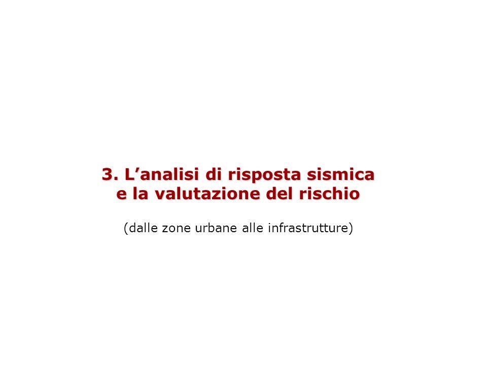 3. Lanalisi di risposta sismica e la valutazione del rischio (dalle zone urbane alle infrastrutture)