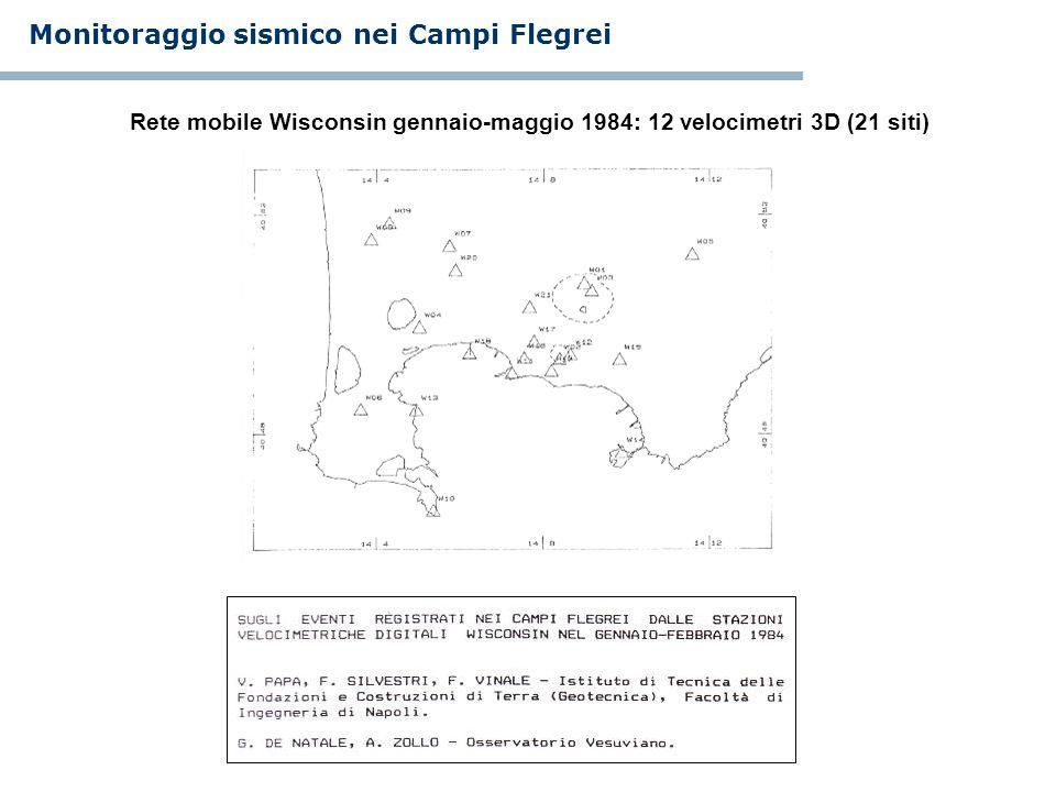 Rete mobile Wisconsin gennaio-maggio 1984: 12 velocimetri 3D (21 siti) Monitoraggio sismico nei Campi Flegrei
