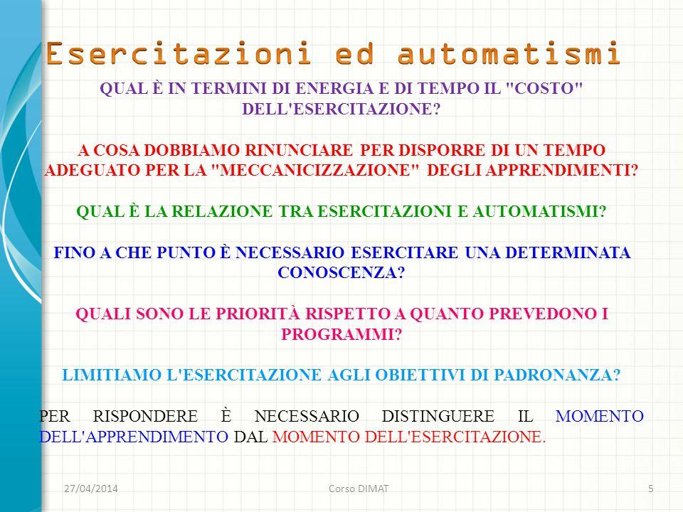 27/04/2014Corso DIMAT5 QUAL È IN TERMINI DI ENERGIA E DI TEMPO IL