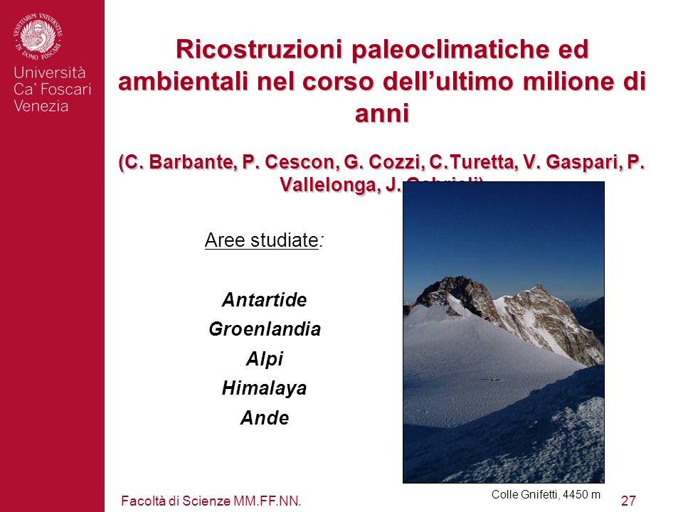 Facoltà di Scienze MM.FF.NN.27 Ricostruzioni paleoclimatiche ed ambientali nel corso dellultimo milione di anni (C. Barbante, P. Cescon, G. Cozzi, C.T