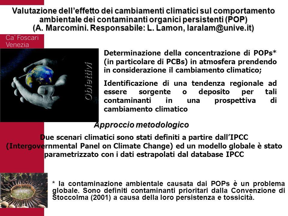 Valutazione delleffetto dei cambiamenti climatici sul comportamento ambientale dei contaminanti organici persistenti (POP) (A. Marcomini. Responsabile