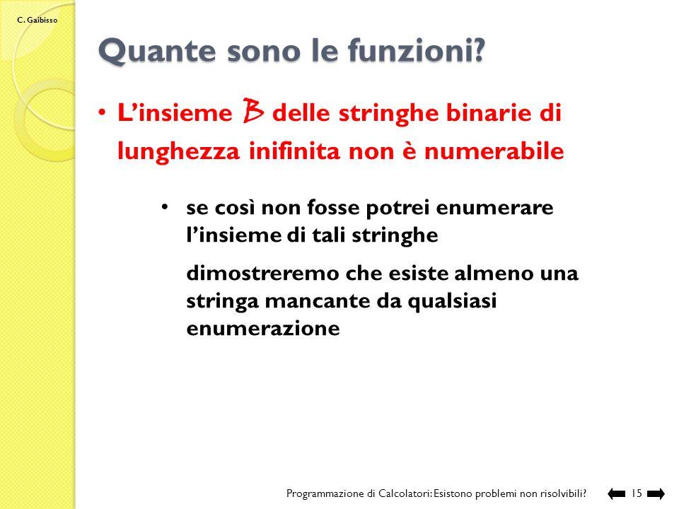 C. Gaibisso Quante sono le funzioni? Programmazione di Calcolatori: Esistono problemi non risolvibili?14 Linsieme delle funzioni F 0,1 { f | f : N {0,