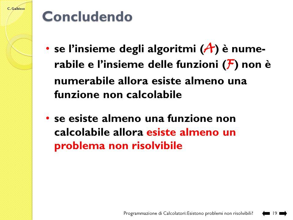 C. Gaibisso Concludendo Programmazione di Calcolatori: Esistono problemi non risolvibili?18 se linsieme delle stringhe binarie di lunghezza finita ( B