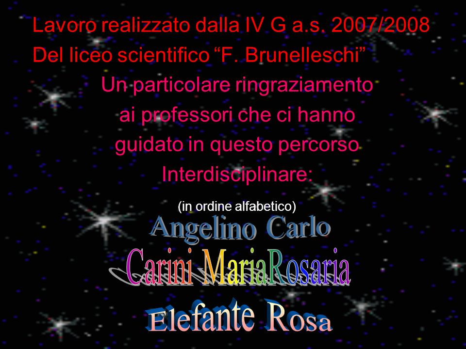Lavoro realizzato dalla IV G a.s. 2007/2008 Del liceo scientifico F. Brunelleschi Un particolare ringraziamento ai professori che ci hanno guidato in