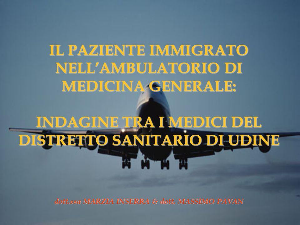IL PAZIENTE IMMIGRATO NELLAMBULATORIO DI MEDICINA GENERALE: INDAGINE TRA I MEDICI DEL DISTRETTO SANITARIO DI UDINE dott.ssa MARZIA INSERRA & dott. MAS