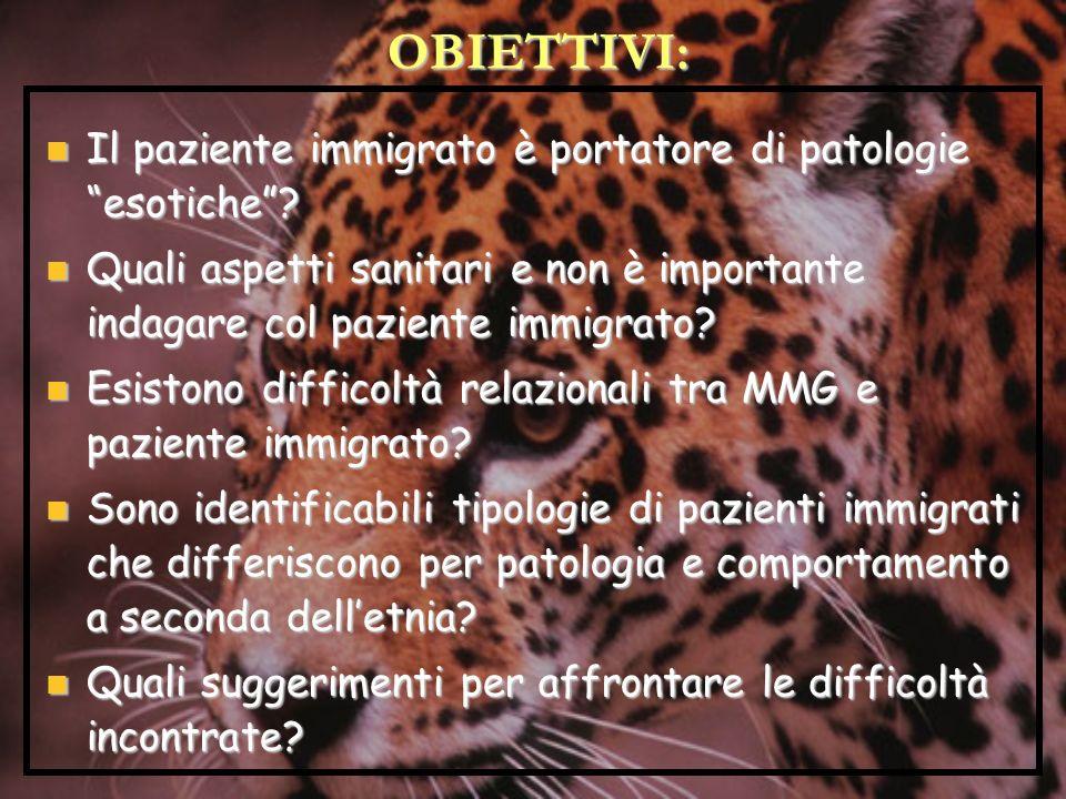 OBIETTIVI: Il paziente immigrato è portatore di patologie esotiche? Il paziente immigrato è portatore di patologie esotiche? Quali aspetti sanitari e