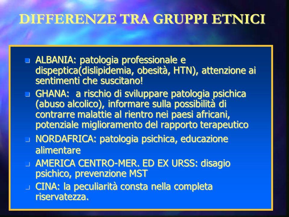 DIFFERENZE TRA GRUPPI ETNICI ALBANIA: patologia professionale e dispeptica(dislipidemia, obesità, HTN), attenzione ai sentimenti che suscitano.