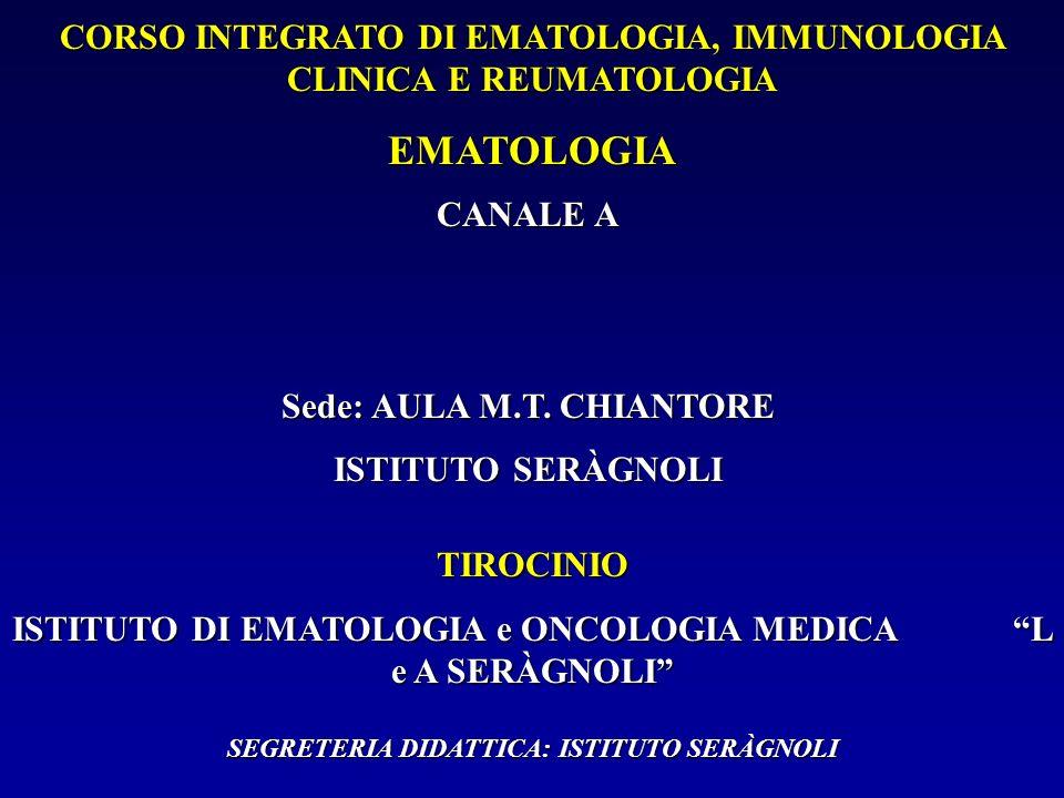 CORSO INTEGRATO DI EMATOLOGIA, IMMUNOLOGIA CLINICA E REUMATOLOGIA EMATOLOGIA CANALE A Sede: AULA M.T. CHIANTORE ISTITUTO SERÀGNOLI TIROCINIO ISTITUTO