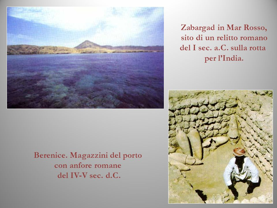 Berenice. Magazzini del porto con anfore romane del IV-V sec. d.C. Zabargad in Mar Rosso, sito di un relitto romano del I sec. a.C. sulla rotta per lI