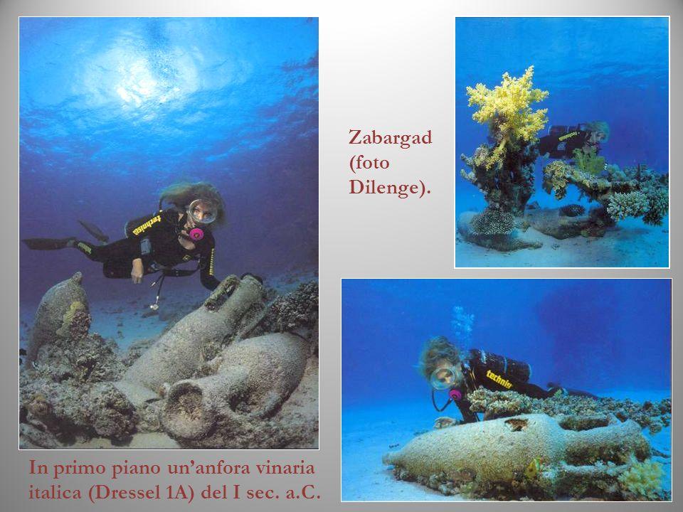 Zabargad (foto Dilenge). In primo piano unanfora vinaria italica (Dressel 1A) del I sec. a.C.
