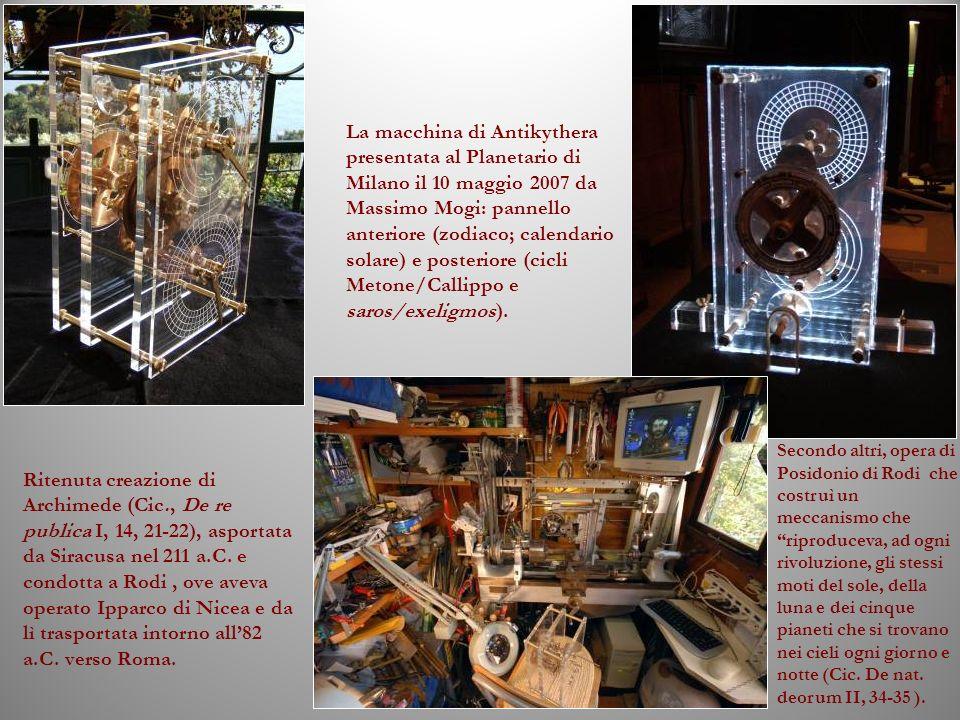 La macchina di Antikythera presentata al Planetario di Milano il 10 maggio 2007 da Massimo Mogi: pannello anteriore (zodiaco; calendario solare) e pos