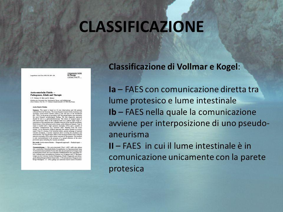 CLASSIFICAZIONE Classificazione di Vollmar e Kogel: Ia – FAES con comunicazione diretta tra lume protesico e lume intestinale Ib – FAES nella quale la