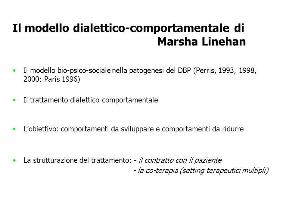 Il modello dialettico-comportamentale di Marsha Linehan Il modello bio-psico-sociale nella patogenesi del DBP (Perris, 1993, 1998, 2000; Paris 1996) I