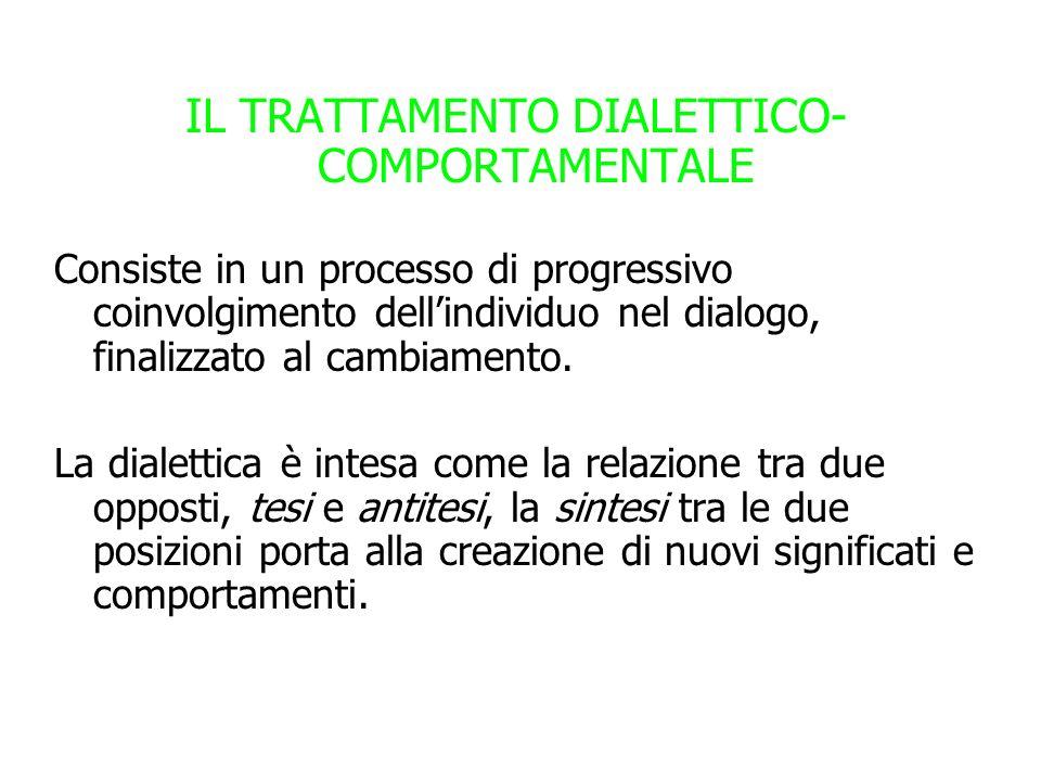 IL TRATTAMENTO DIALETTICO- COMPORTAMENTALE Consiste in un processo di progressivo coinvolgimento dellindividuo nel dialogo, finalizzato al cambiamento