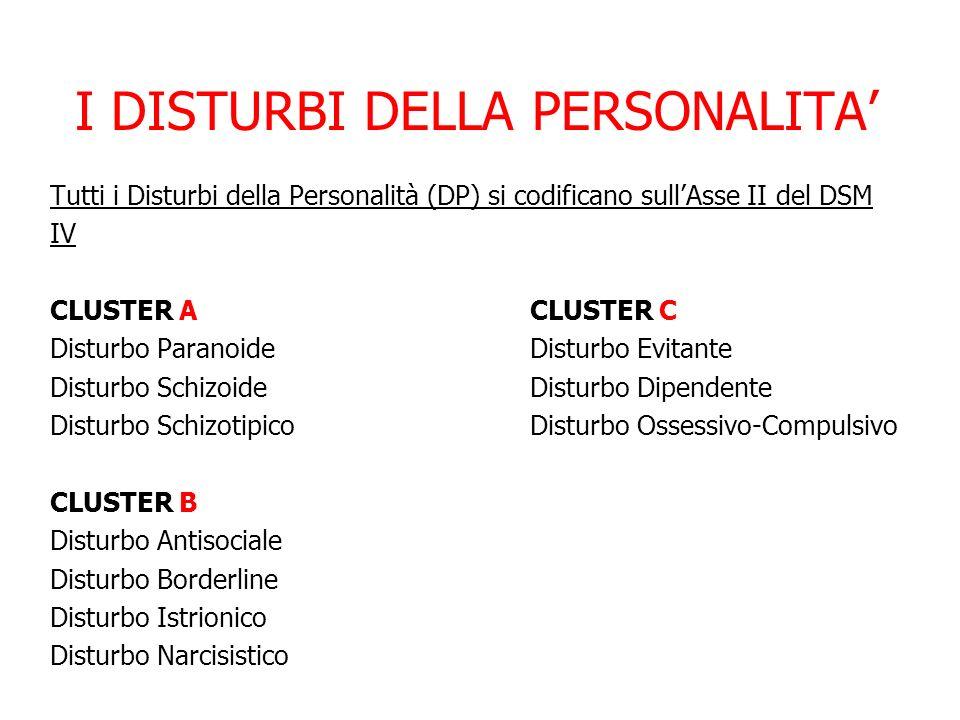 I DISTURBI DELLA PERSONALITA Tutti i Disturbi della Personalità (DP) si codificano sullAsse II del DSM IV CLUSTER A CLUSTER C Disturbo ParanoideDistur
