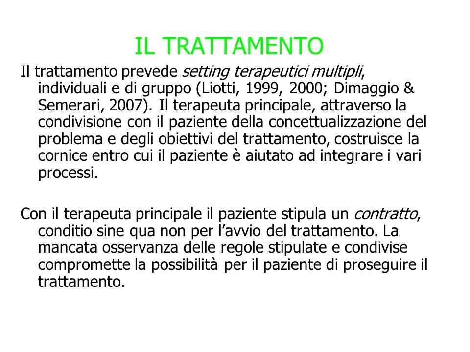 IL TRATTAMENTO Il trattamento prevede setting terapeutici multipli, individuali e di gruppo (Liotti, 1999, 2000; Dimaggio & Semerari, 2007). Il terape