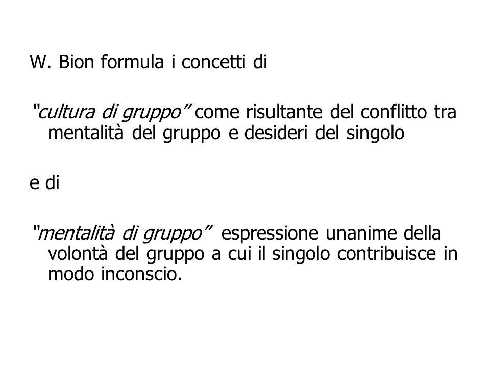 W. Bion formula i concetti di cultura di gruppo come risultante del conflitto tra mentalità del gruppo e desideri del singolo e di mentalità di gruppo