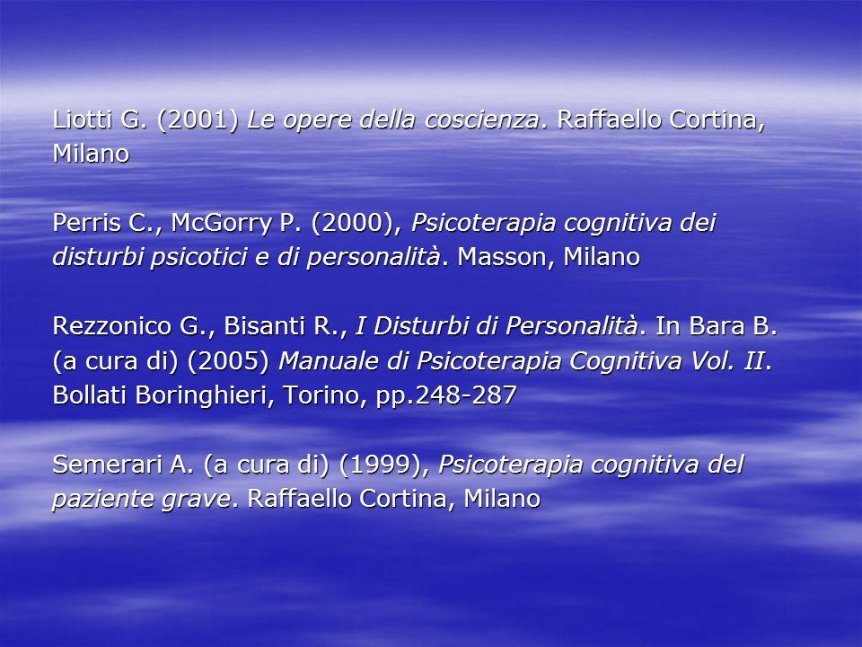 Liotti G. (2001) Le opere della coscienza. Raffaello Cortina, Milano Perris C., McGorry P. (2000), Psicoterapia cognitiva dei disturbi psicotici e di