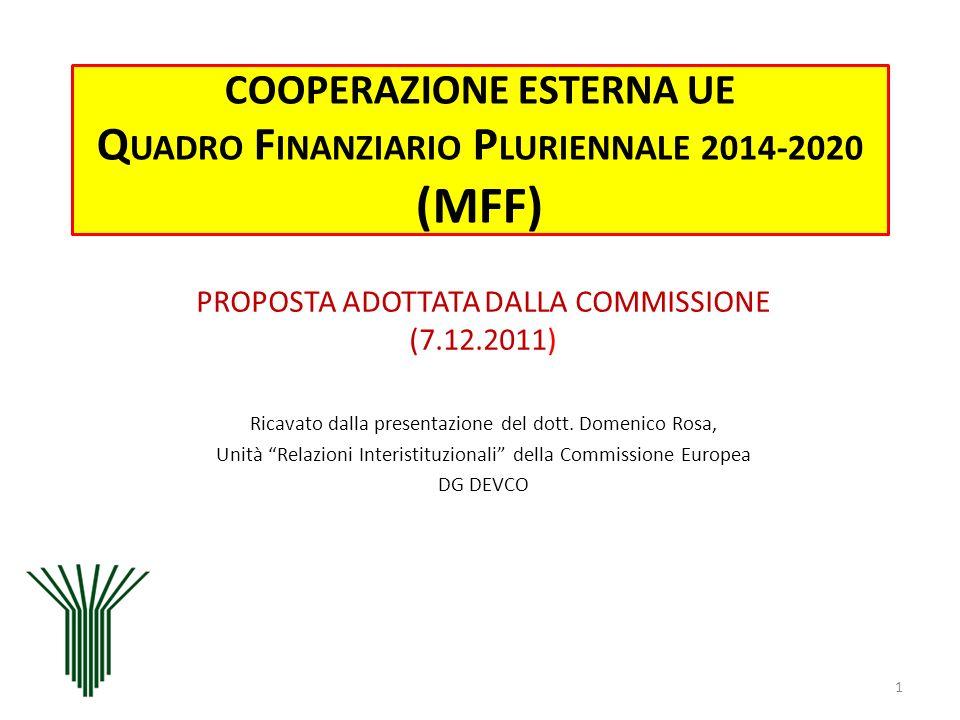 COOPERAZIONE ESTERNA UE Q UADRO F INANZIARIO P LURIENNALE 2014-2020 (MFF) PROPOSTA ADOTTATA DALLA COMMISSIONE (7.12.2011) Ricavato dalla presentazione