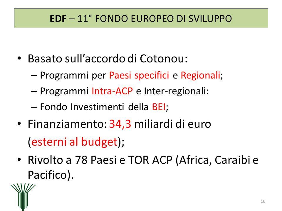 EDF – 11° FONDO EUROPEO DI SVILUPPO Basato sullaccordo di Cotonou: – Programmi per Paesi specifici e Regionali; – Programmi Intra-ACP e Inter-regional