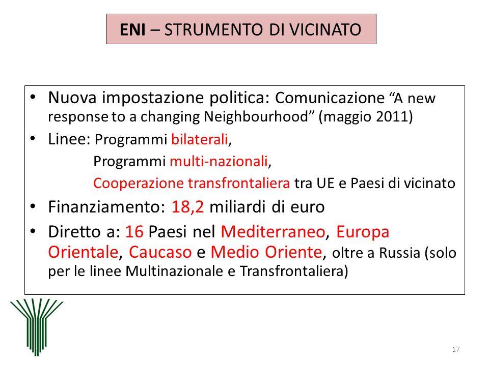 ENI – STRUMENTO DI VICINATO Nuova impostazione politica: Comunicazione A new response to a changing Neighbourhood (maggio 2011) Linee: Programmi bilat