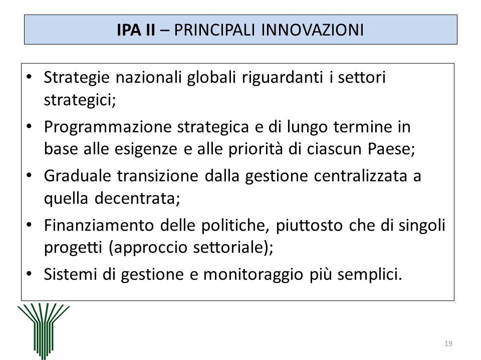 IPA II – PRINCIPALI INNOVAZIONI Strategie nazionali globali riguardanti i settori strategici; Programmazione strategica e di lungo termine in base all