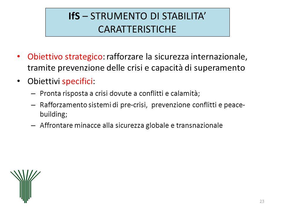 IfS – STRUMENTO DI STABILITA CARATTERISTICHE Obiettivo strategico: rafforzare la sicurezza internazionale, tramite prevenzione delle crisi e capacità