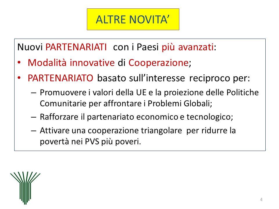 Nuovi PARTENARIATI con i Paesi più avanzati: Modalità innovative di Cooperazione; PARTENARIATO basato sullinteresse reciproco per: – Promuovere i valo