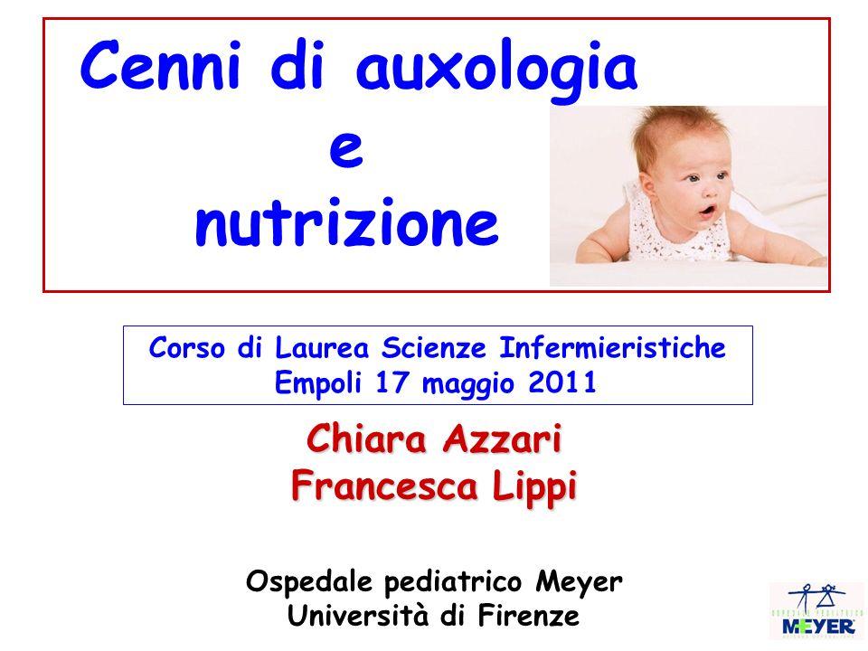 Chiara Azzari Francesca Lippi Ospedale pediatrico Meyer Università di Firenze Cenni di auxologia e nutrizione Corso di Laurea Scienze Infermieristiche