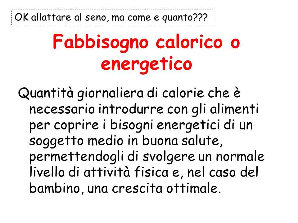 Fabbisogno calorico o energetico Quantità giornaliera di calorie che è necessario introdurre con gli alimenti per coprire i bisogni energetici di un s