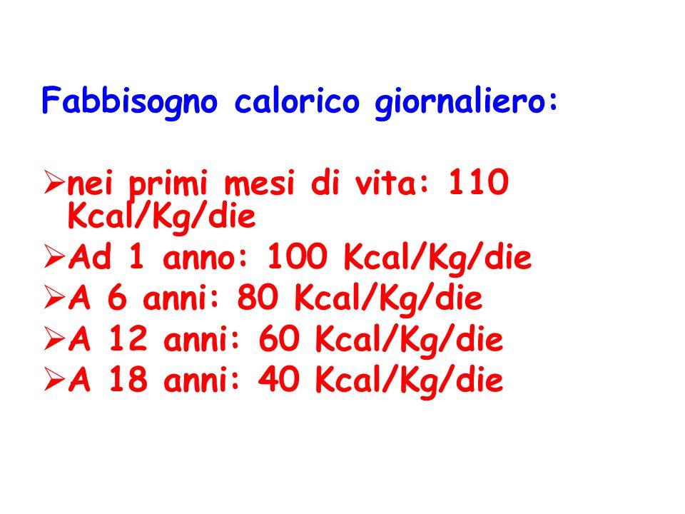 Fabbisogno calorico giornaliero: nei primi mesi di vita: 110 Kcal/Kg/die Ad 1 anno: 100 Kcal/Kg/die A 6 anni: 80 Kcal/Kg/die A 12 anni: 60 Kcal/Kg/die
