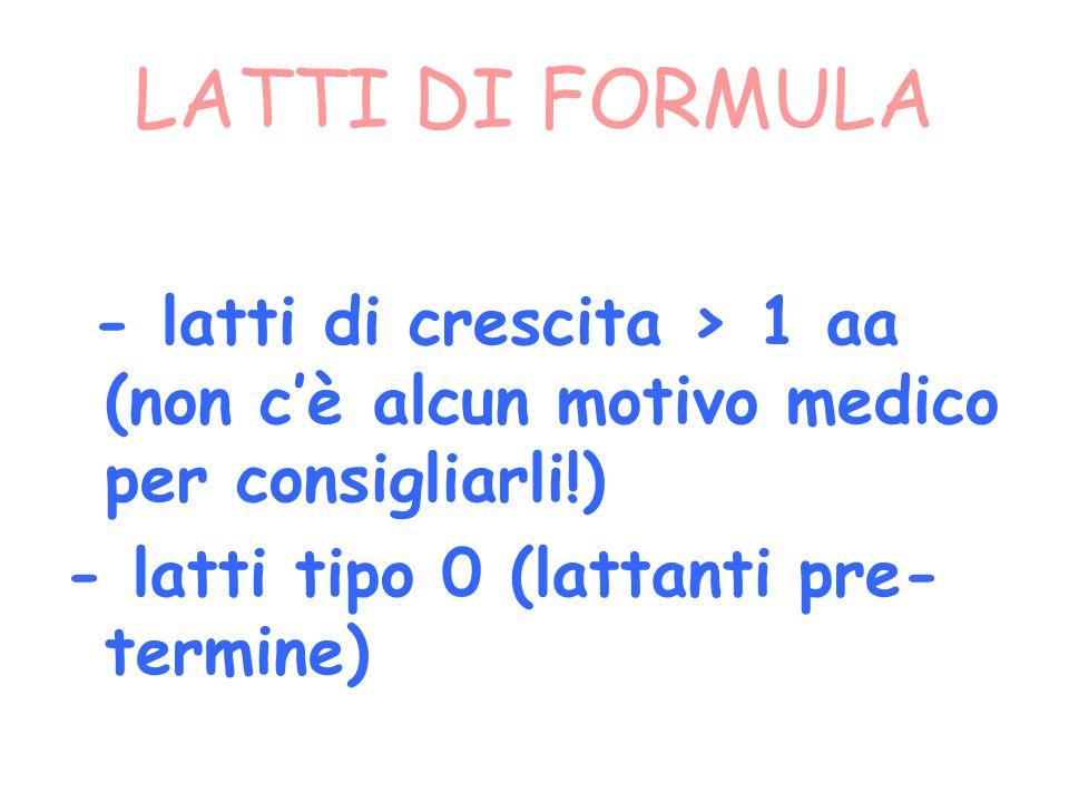 LATTI DI FORMULA - latti di crescita > 1 aa (non cè alcun motivo medico per consigliarli!) - latti tipo 0 (lattanti pre- termine)