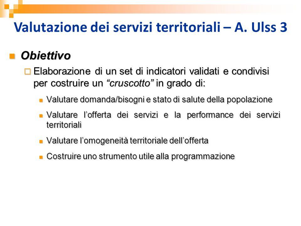 Valutazione dei servizi territoriali – A. Ulss 3 Obiettivo Obiettivo Elaborazione di un set di indicatori validati e condivisi per costruire un crusco