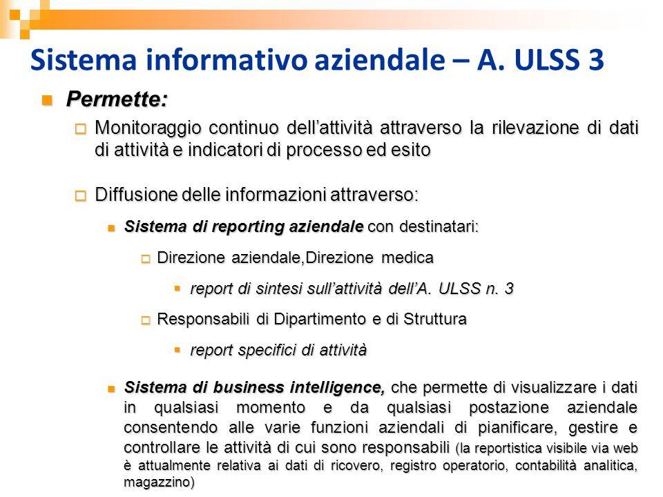 Sistema informativo aziendale – A. ULSS 3 Permette: Permette: Monitoraggio continuo dellattività attraverso la rilevazione di dati di attività e indic