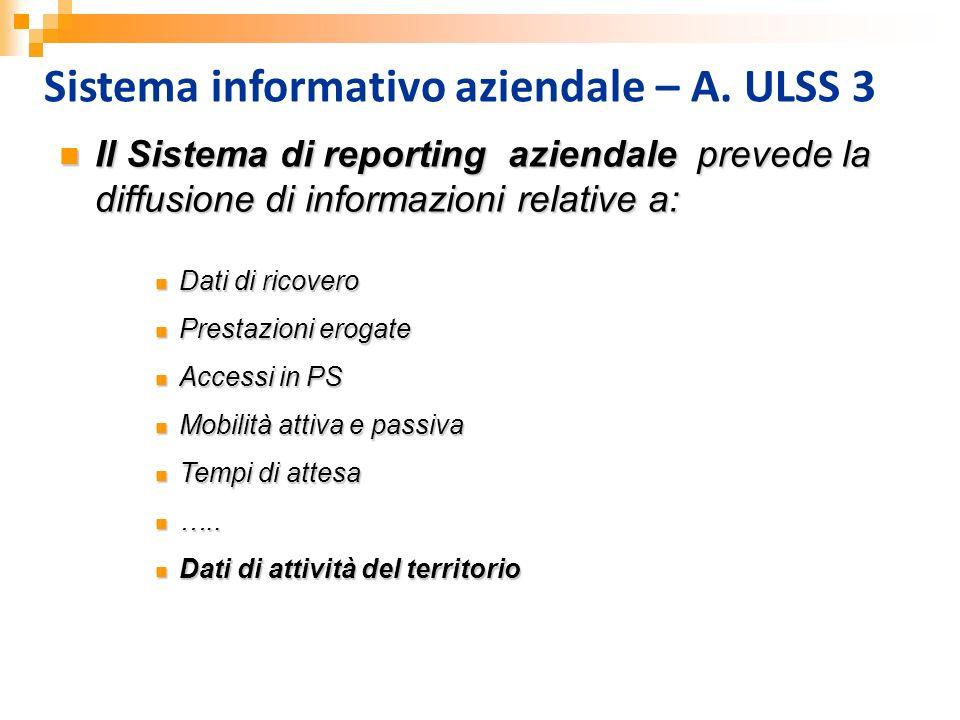 Sistema informativo aziendale – A. ULSS 3 Il Sistema di reporting aziendale prevede la diffusione di informazioni relative a: Il Sistema di reporting