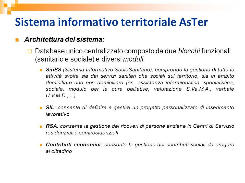 Sistema informativo territoriale AsTer Architettura del sistema: Architettura del sistema: Database unico centralizzato composto da due blocchi funzio