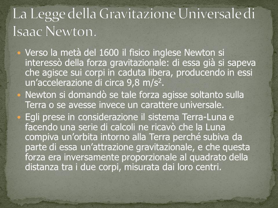 Verso la metà del 1600 il fisico inglese Newton si interessò della forza gravitazionale: di essa già si sapeva che agisce sui corpi in caduta libera, producendo in essi unaccelerazione di circa 9,8 m/s 2.